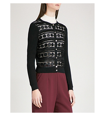 TED BAKER Lace-panel cotton-knitted cardigan (Black