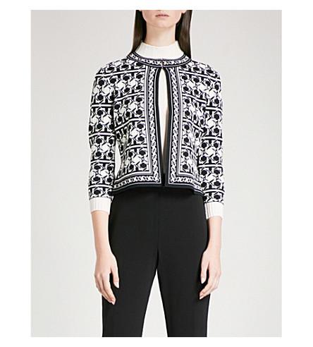 TED BAKER Tesselation 几何图案提花针织开襟衫 (黑色