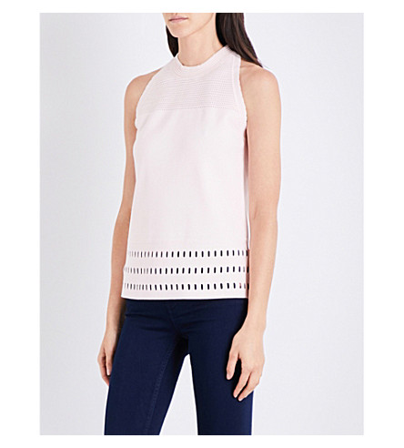 TED BAKER Ottoman cutout hem knitted top (Nude+pink
