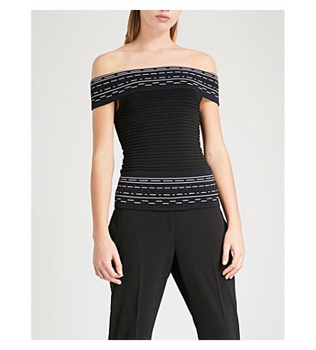 TED BAKER Hanyie off-the-shoulder stretch-knit Bardot top (Black