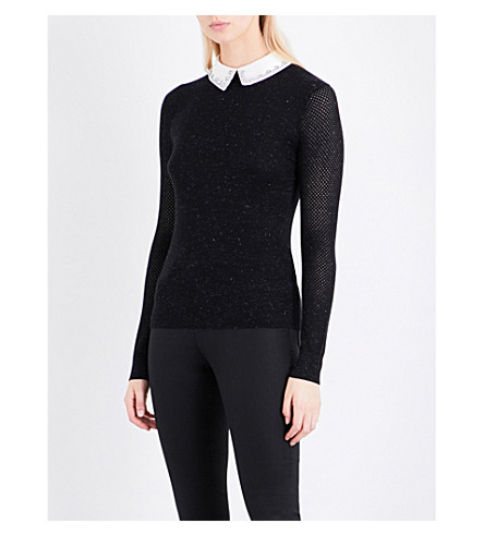 TED BAKER Peter Pan-collar metallic-knit jumper (Black