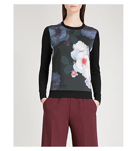 TED BAKER Chelsea floral-print knitted jumper (Black
