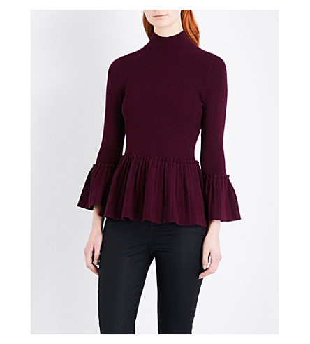 TED BAKER Peplum knitted jumper (Maroon