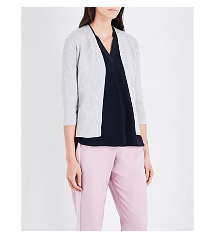 TED BAKER Floral-print cotton-blend cardigan (Light+grey