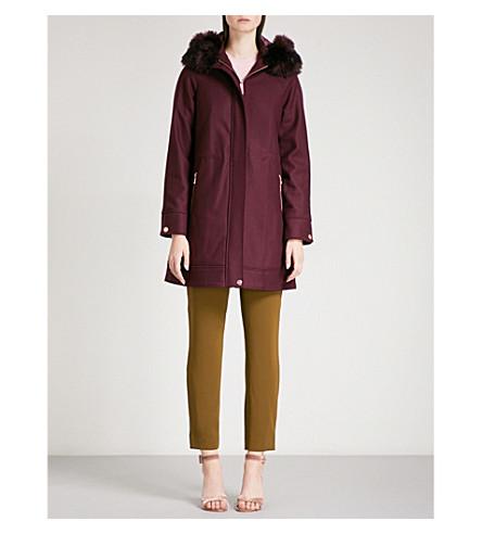 TED BAKER Hooded wool-blend parka coat (Maroon