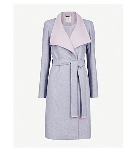 TED BAKER Kikiie wool-blend coat (Light+grey