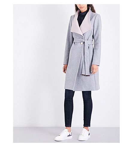 TED BAKER Kikiie wool-blend coat (Light+grey