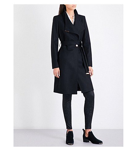 TED BAKER Kikiie wool-blend coat (Black
