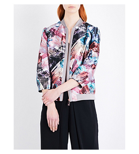 TED BAKER Mirrored Minerals Livliet metallic-jacquard bomber jacket (Mid+grey
