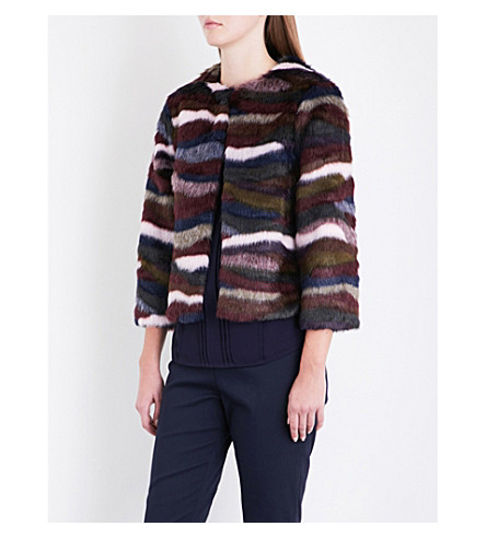 TED BAKER Robarla abstract striped faux-fur jacket (Maroon