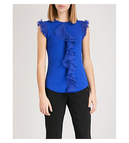 TED BAKER Ysabel ruffled knitted top (Bright+blue