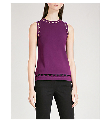 TED BAKER Yuma openwork-detail knitted top (Deep+purple