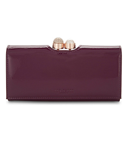 TED BAKER Pearl bobble leather purse (Deep+purple