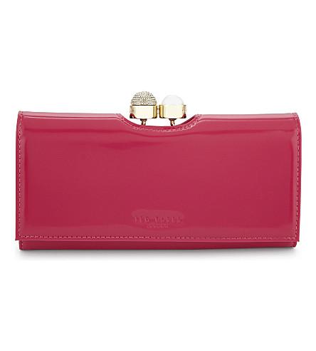TED BAKER Pearl bobble leather purse (Fuchsia
