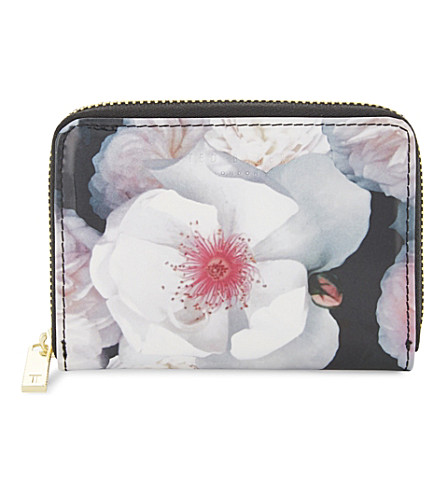 TED BAKER Malina patent floral-print purse (Black