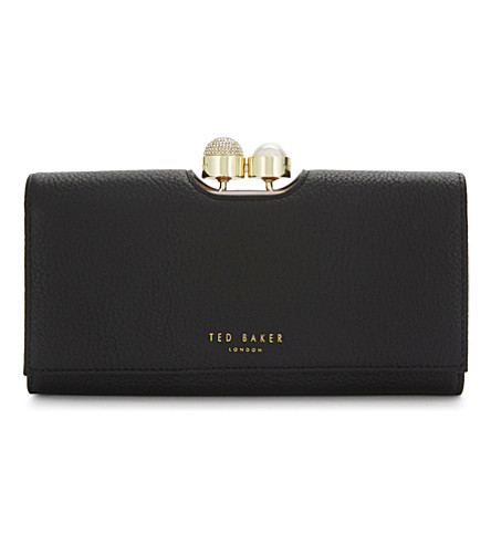 TED BAKER Marta crystal and pearl leather matinee purse (Black