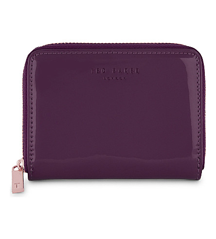 TED BAKER Omarion patent-leather mini purse (Deep+purple