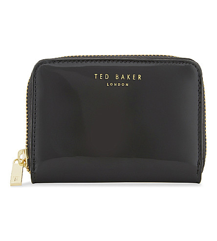 TED BAKER Patent leather mini wallet (Black