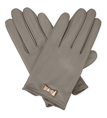 TED BAKER Dolly bow leather smart gloves (Light+grey