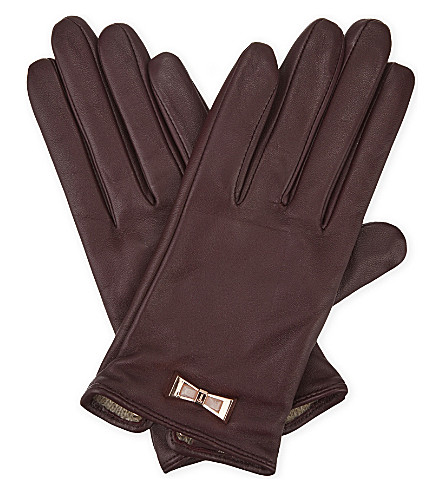 TED BAKER Dolly bow leather smart gloves (Maroon