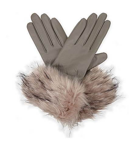 TED BAKER Jullian leather smart gloves (Light+grey
