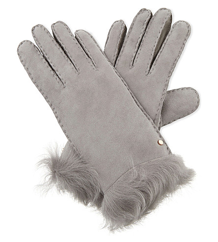 TED BAKER Kassidy suede and shearling gloves (Light grey
