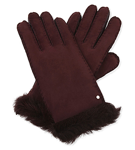 TED BAKER Kassidy suede and shearling gloves (Maroon
