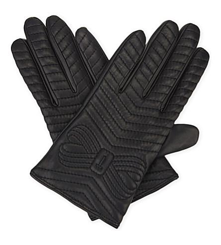 TED BAKER Lucilu 绗缝皮革智能手套 (黑色