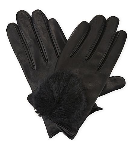 TED BAKER Pomi leather smart gloves (Black