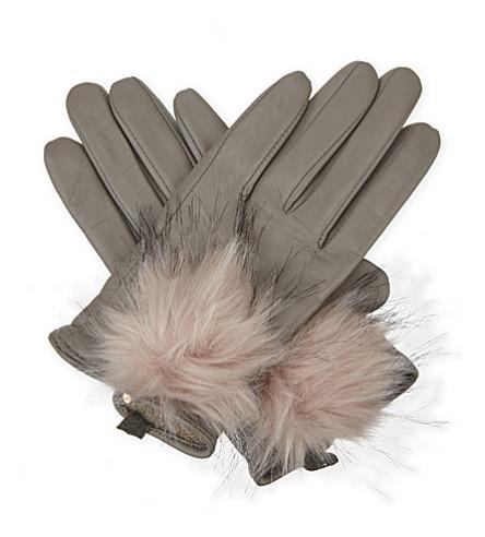 TED BAKER Pomi leather smart gloves (Light grey