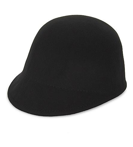 TED BAKER Faux-fur pom pom felt hat (Black