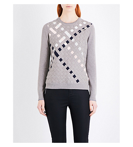 TED BAKER Colour by Numbers Yessica woven-detail cotton-blend jumper (Light grey