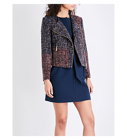 TED BAKER Colour by Numbers Phebbe zipped-cuff tweed jacket (Blue