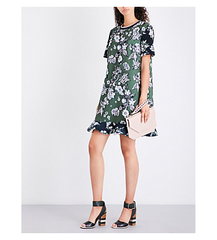 TED BAKER Floral-print frill-hem satin dress (Green