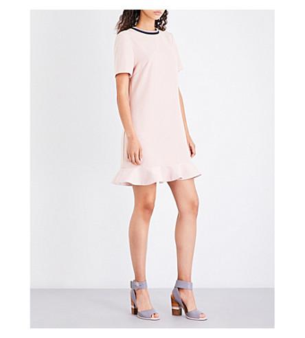 TED BAKER Frill-hem satin dress (Nude+pink