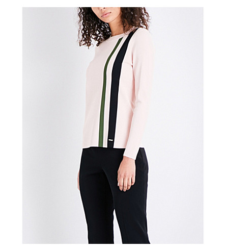 TED BAKER Colour by Numbers Mopose striped knitted jumper (Nude+pink