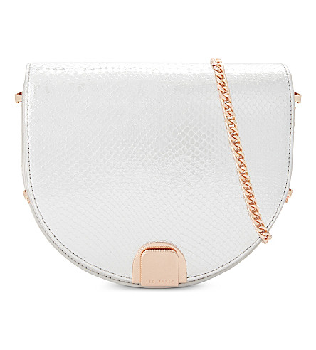 TED BAKER Annii mini leather moon shaped bag (Light+grey