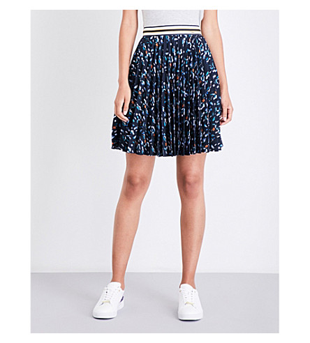 TED BAKER Colour by Numbers Motrie geometric-print crepe skirt (Navy