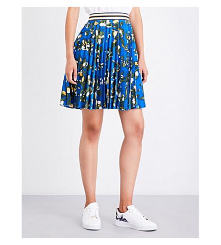 TED BAKER Floral-print pleated crepe skirt (Dark+blue