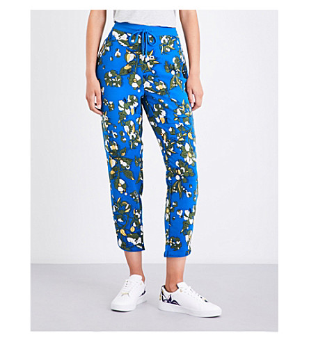 TED BAKER Floral-print woven jogging bottoms (Dark+blue