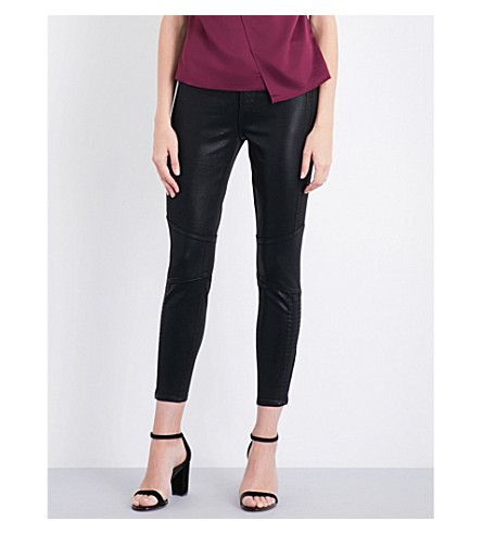 TED BAKER Harlinn wax-coated skinny mid-rise jeans (Black