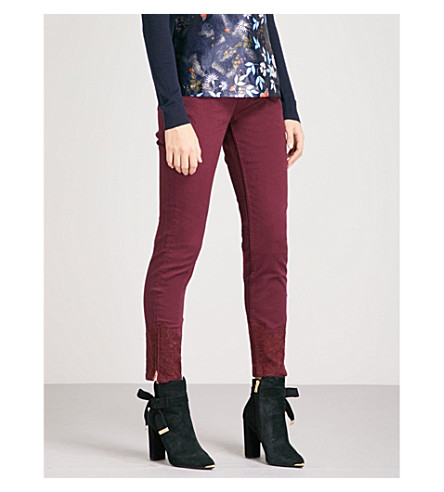 TED BAKER Astasia embroidered skinny mid-rise jeans (Maroon