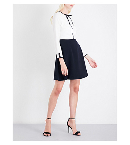 TED BAKER Loozy neck-tie woven skater dress (White