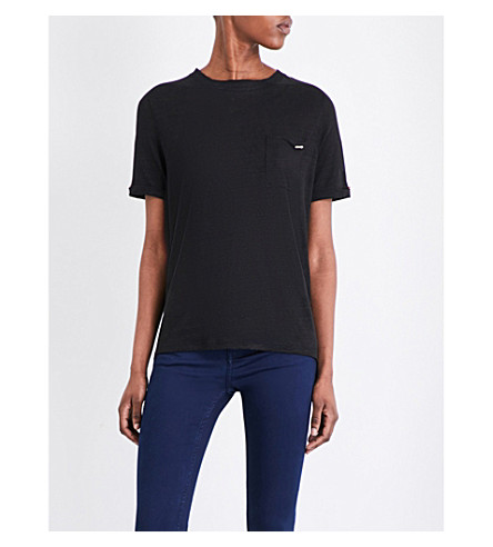 TED BAKER Colour by Numbers linen T-shirt (Black