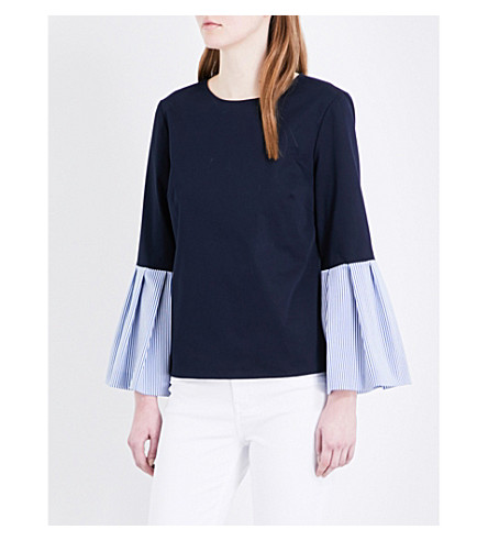 TED BAKER Bell-sleeved cotton-blend top (Navy