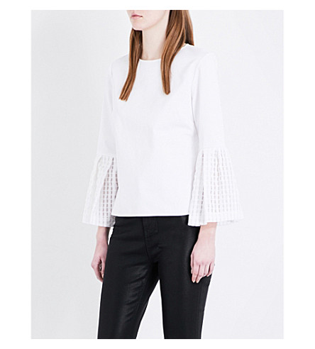 TED BAKER Gingham bell-sleeved cotton-blend top (White