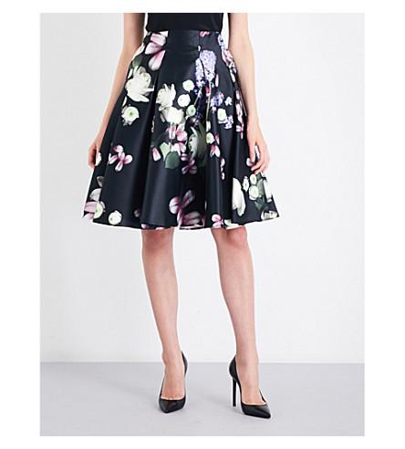 TED BAKER Angi Kensington Floral-print woven skirt (Black