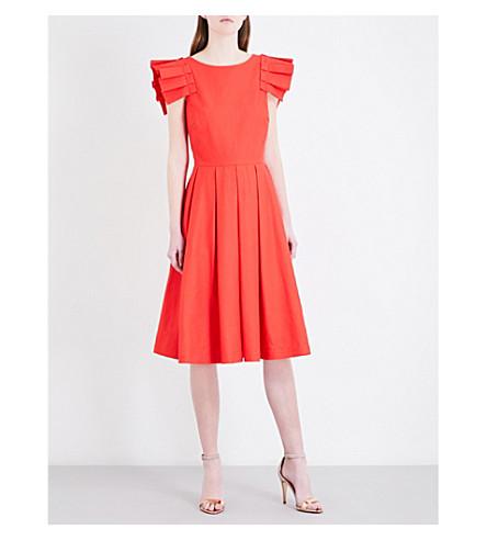 TED BAKER Frilled-shoulder cotton-piqué dress (Light orange