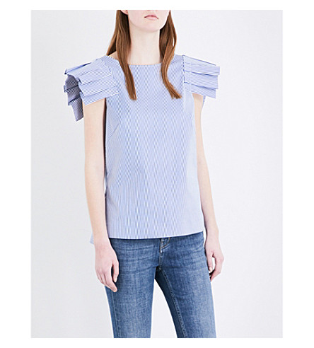 TED BAKER Frilled-shoulder cotton-blend top (Navy