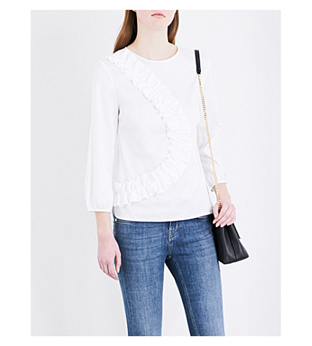 TED BAKER Frill-detail cotton-blend blouse (White